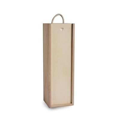 BH030 Wooden bottle box single with rope handle 1