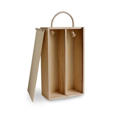 BH031 2 bottle wooden box with rope handle