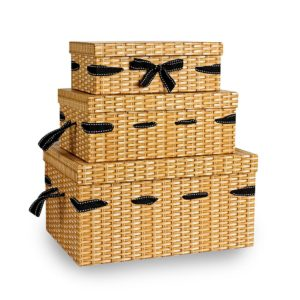 GP005 Set of 3 rectangular boxes with stitched ribbon