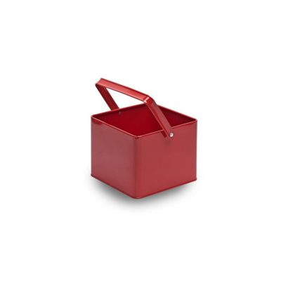 MT001 Red square metal bucket with handle