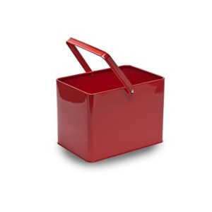 MT005 Red rectangular metal bucket with handle
