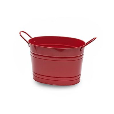 MT010 Small red oval metal tub