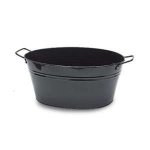 MT016 Large black oval metal tub