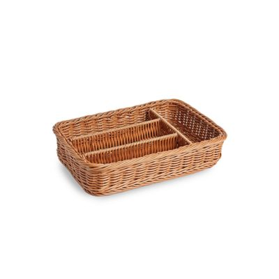 PL033 Brown plastic cutlery tray