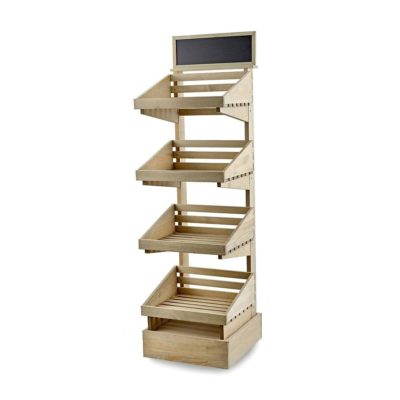 SP247 Rustic 4 tier Display Stand - Shown with optional plinth and blackboard