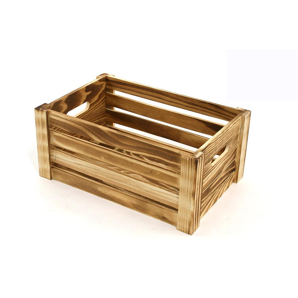 St090 Small Burnt Finish Wooden Crate