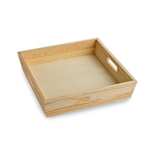 TR100 Square wooden tray with handles
