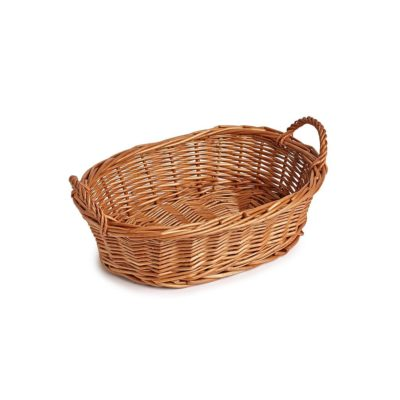 TR110 Buff wicker oval tray with handles 1
