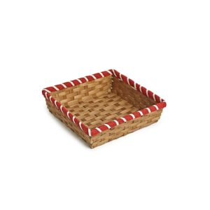 TR230 Square bamboo tray with red border