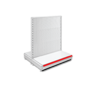Double Sided Pegboard Gondola Retail Shop Shelving - Jura & Red