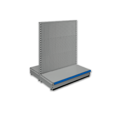 Double sided pegboard gondola - retail shop shelving system - Silver & Blue