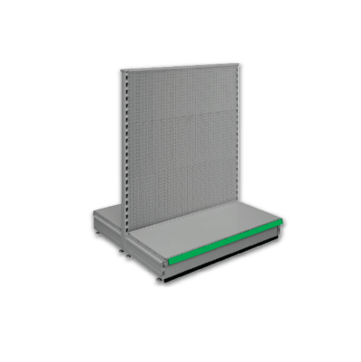 Double sided pegboard gondola - retail shop shelving system - Silver & Green