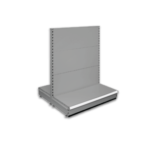 Double sided gondola - retail shop shelving system - Silver