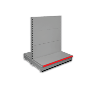 Double sided gondola - retail shop shelving system - Silver & Red