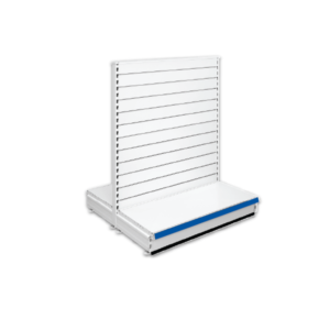 Double Sided Slatted Gondola Retail Shop Shelving - Jura & Blue