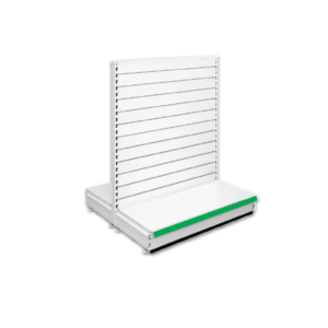 Double Sided Slatted Gondola Retail Shop Shelving - Jura & Green