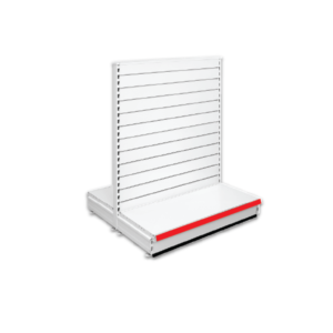 Double Sided Slatted Gondola Retail Shop Shelving - Jura & Red
