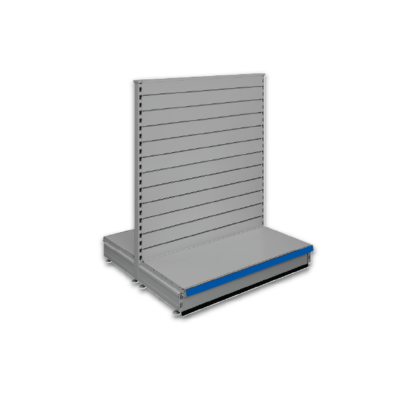 Double sided slatted gondola - retail shop shelving system - Silver & Blue