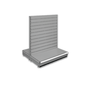 Double sided slatted gondola - retail shop shelving system - Silver
