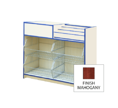 300 Series Stepped Display With Crisp Baskets And Till Point LH 1000mm - Mahogany