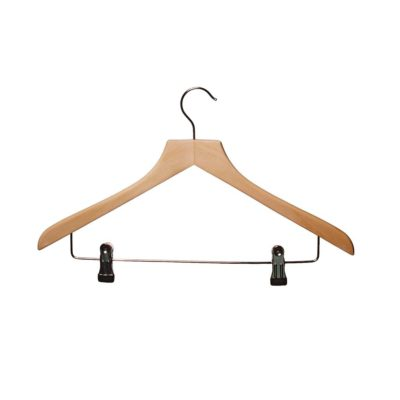 R1019 R1020 Wooden Shaped Suit Hanger with Clips