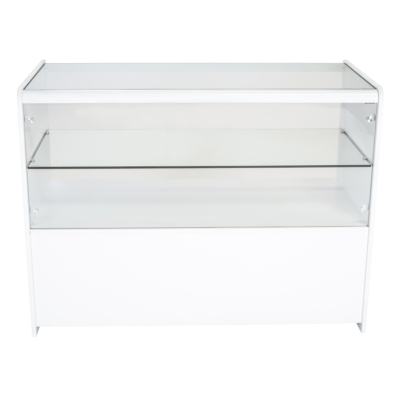 R1505 R1507 Half Glass Showcase Display Counter - White - Front View