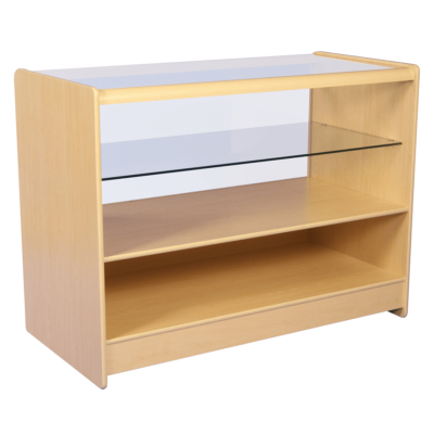 R1506 R1508 Half Glass Showcase Display Counter - Maple - Rear View