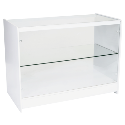 R1513 R1515 Glass Showcase Display Counter - White - Side View