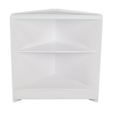R1517 Open Corner Counter with Timber Shelf - White - Front View