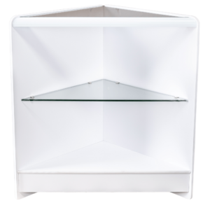 RE1519 - Open Front Corner Counter with Glass Top and Glass Shelf - White - Front View