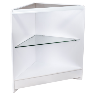 RE1519 - Open Front Corner Counter with Glass Top and Glass Shelf - White - Side View