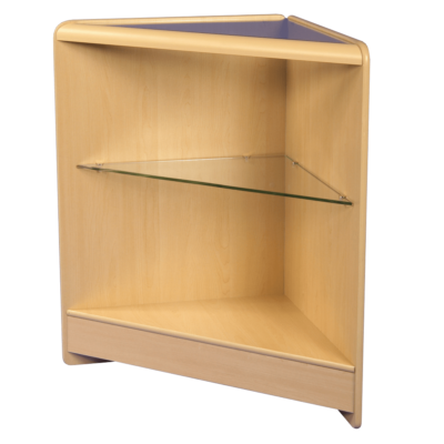 R1520 Open Corner Counter with Glass Top and Glass Shelf - Maple