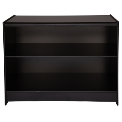 R1535 R1536 - Solid Front Shop Counter - Black - Rear View