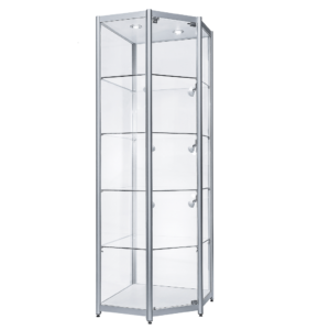 R1565 - Corner Aluminium Tower Showcase Cabinet