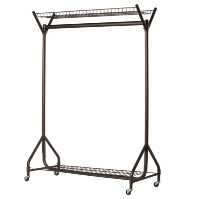 4ft Heavy Duty Clothes Rail - Black with Top & Bottom Baskets
