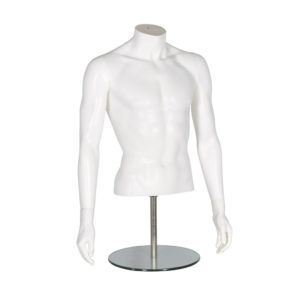 R372 Male Torso With Arms - Matt White