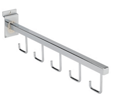 "R509 - 5 Hook Straight Display Arm for Slatwall - 410mm / 16"" 1"