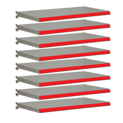 Pack of 8 complete shelves for Evolve S50i - Silver & Red