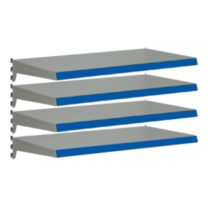 Pack of 4 complete heavy duty shelves for Evolve S50i - Silver & Blue