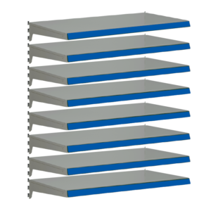 Pack of 8 complete heavy duty shelves for Evolve S50i - Silver & Blue