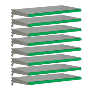 Pack of 8 complete heavy duty shelves for Evolve S50i - Silver & Green