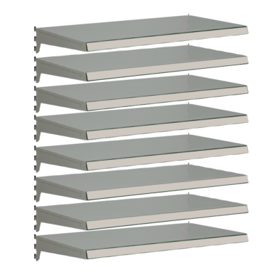 Pack of 8 complete heavy duty shelves for Evolve S50i - Silver & ivory