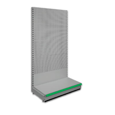 Pegboard shop shelving bays - Silver 9006 & Green