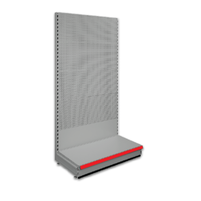 Pegboard shop shelving bays - Silver 9006 & Red