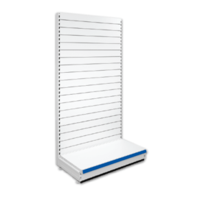 Single Sided Slatted Retail Shop Shelving - Jura & Blue