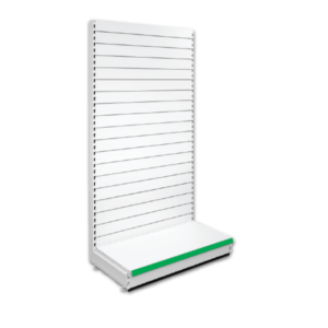 Single Sided Slatted Retail Shop Shelving - Jura & Green