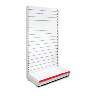 Single Sided Slatted Retail Shop Shelving - Jura & Red
