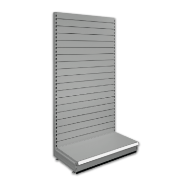 Slatted shop shelving bays - Silver 9006 & Blue