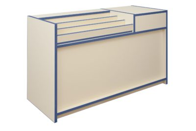 300 Series Stepped Display with Till Point - L150cm - Natural Cream & Blue -RH