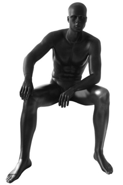 Male Sitting Mannequin Matt Black - VCM5-MB 1